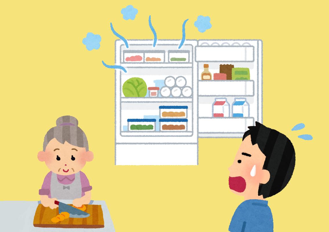 冷蔵庫、開け放し、気づかない