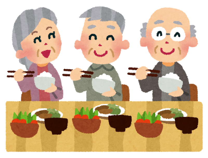 食事をする老人たち